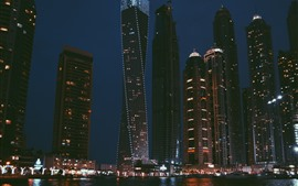Skyscrapers, lights, night, city, river