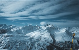 Preview wallpaper Snow covered mountains, winter, nature landscape