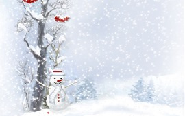 Snowman, winter, snow, tree, red berries, art picture