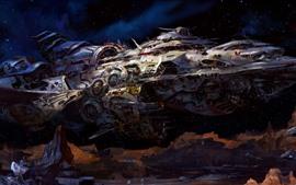 Nave espacial, estrelas, imagem de arte