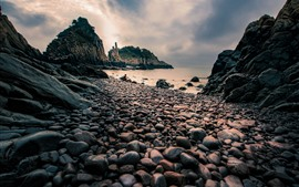 Piedras, mar, anochecer, Xiangshan, Isla Hualiu, China