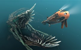 Preview wallpaper Submersibles, monster, underwater, creative picture