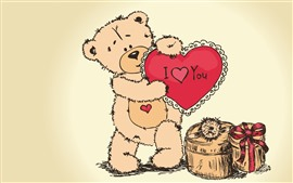 Preview wallpaper Teddy bear, I love you, love heart, gift, art picture