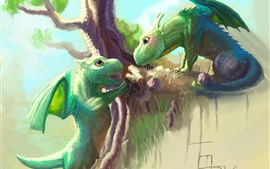 Preview wallpaper Two green dragons, tree, art picture
