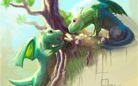 Dos dragones verdes, árbol, imagen artística