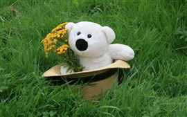 Preview wallpaper White teddy bear, hat, flowers, grass