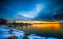 Inverno, lago, neve, árvores, crepúsculo, pôr do sol