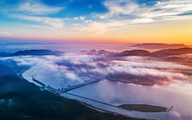 Preview wallpaper Xiajiang Hydro-junction, river, clouds, sunset, China