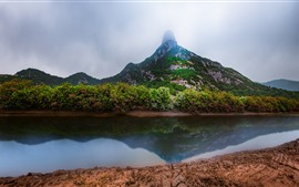 Preview wallpaper Xiangshan Hualiu Island, mountain, clouds, river, China