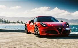 미리보기 배경 화면 알파 로미오 4C 빨간 스포츠 자동차 전면보기, 바다