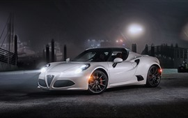 Preview wallpaper Alfa Romeo 4C white sport car at night, headlights