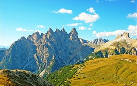 Alps, Italy, mountains, rocks, sky, clouds
