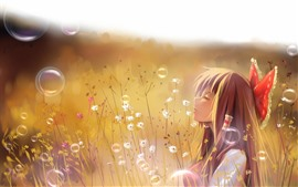 Anime girl, bubbles, flowers, bushes
