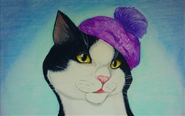 Preview wallpaper Art drawing, cat, pink hat