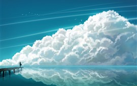 Preview wallpaper Art painting, sea, clouds, water reflection, birds, pier