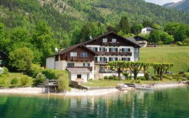 Preview wallpaper Austria, cottage, Wolfgangsee, lake, trees, mountains