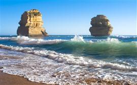 Praia, mar, pedras, ilha