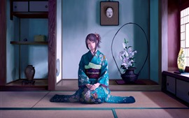 Beautiful Japanese anime girl, blue kimono, room