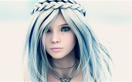 Preview wallpaper Beautiful fantasy girl, blue eyes, braids