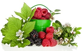 Preview wallpaper Bucket, raspberry, blackberry, flowers, green leaves