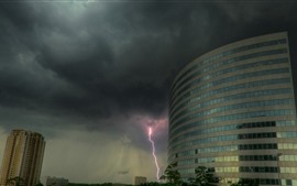 Preview wallpaper Buildings, lightning, clouds, storm