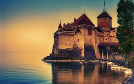 Preview wallpaper Castle, lake, dusk, Switzerland