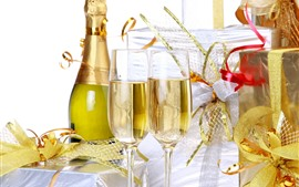 Champagne, glass cups, gifts, holiday