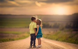 Preview wallpaper Children, boy and girl, kiss, road, sunshine