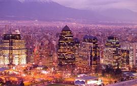 Чили, ночной город, небоскребы, огни