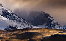 Preview wallpaper Chile, mountains, snow, dusk, nature landscape