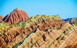 China, Danxia Mountain, hills
