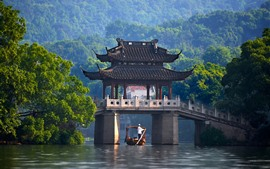 China, pavilion, bridge, river, green trees