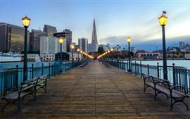 Cidade, ponte, luzes, rio