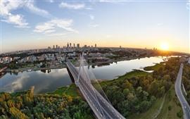City, bridge, river, trees, sunset, sky