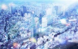 Вид на город, небоскребы, солнечные лучи, туманность