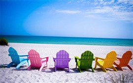 Preview wallpaper Colorful chairs, beach, sea