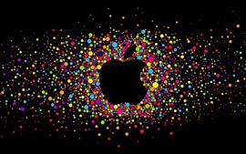 Preview wallpaper Colorful circles, Apple logo, black background