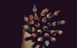 Preview wallpaper Colorful pencils, point, darkness