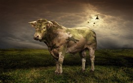 Preview wallpaper Cow, camouflage, helicopter, grass, clouds, creative picture