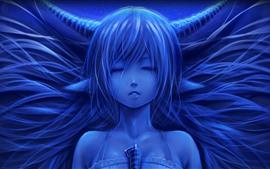 Garota de fantasia, cabelos longos, chifres, olhos fechados
