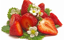 Preview wallpaper Fresh strawberries, flowers, white background
