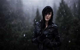 Preview wallpaper Girl in winter, snowy day, black jacket