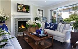 Sala de estar, sofá, lareira, flores, mesa