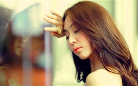 Preview wallpaper Long hair Asian girl, glass, sadness