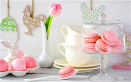 Preview wallpaper Macaron, pink cakes, pink tulips, pink eggs