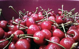 Preview wallpaper Many delicious cherries, fruit