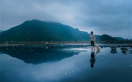 Morning, sea, mountains, woman, salt, Xiangshan, Hualiu Island, China