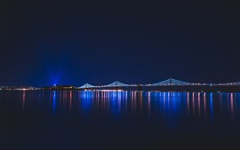 Night, river, lights, city