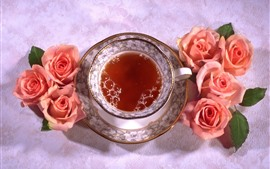 Preview wallpaper One cup of tea, pink roses