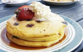 Preview wallpaper Pancakes, strawberry, cream, dessert